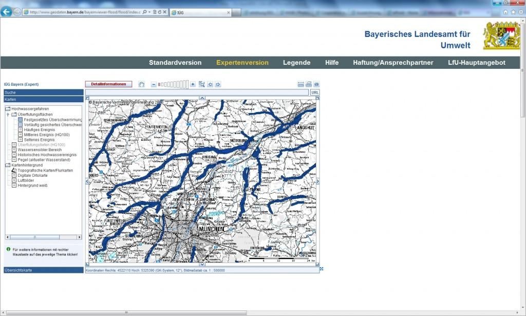 Über den Geodaten-Dienst des Bayerischen Landesamts für Umwelt können Projektplaner Überschwemmungsgebiete lokalisieren. (Quelle Screenshot: www.iug.bayern.de)