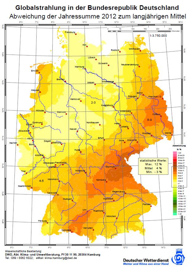 sonnenstunden deutschland karte Sonnenstunden im Jahr 2012: die Einstrahlungskarte des Deutschen  sonnenstunden deutschland karte