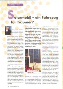 Zeitungsartikel 1996 EnergieMagazin Stadtwerke Bremen Solarmobil ein Auto für Träumer Interview Möhrstedt
